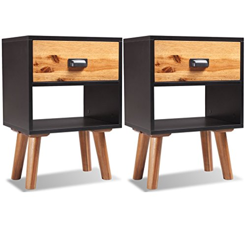 Festnight Set of 2 Acacia Wood Bedside Cabinet Nightstand with a Drawer, 15.7'' x 11.8'' x 22.8'', Black and Brown by Festnight