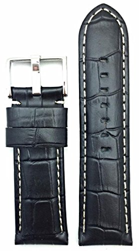- Watch Band by NewLife | Black, Panerai Style, White Stitches, Medium Padded, Alligator Grain Leather Strap That Brings New Life to Any Watch (Men's Standard Length; 26mm Lug Width)