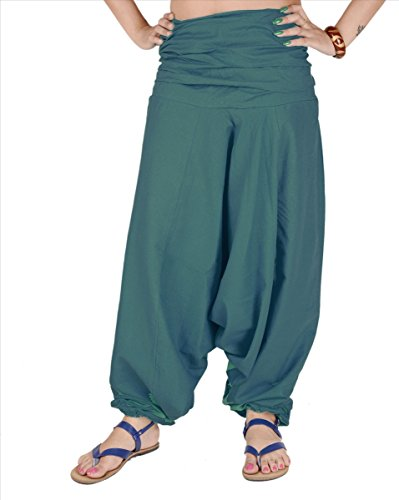 SNS Pure Cotton Harem Pant Indian Trouser Yoga Pant Teal ()