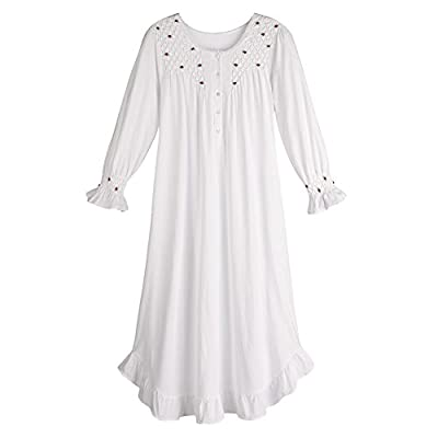 Cheap La Cera Women's Long Sleeve Cotton Nightgown