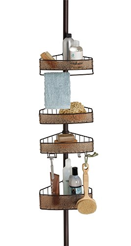 Cheap  mDesign Bathroom Shower Tension Caddy for Shampoo, Conditioner, Soap - Sand/Bronze