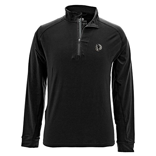 Levelwear LEY9R NBA Dallas Mavericks Adult Men Peak Insignia Banner Stripe Quarter Zip Mid-Layer, Medium, Black
