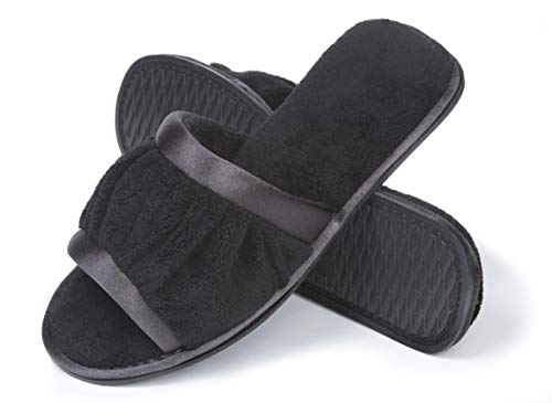 - Roxoni Women's Open Toe Slide Slipper ; Ideal Terry Cloth House Shoe for Indoor and Outdoor Black