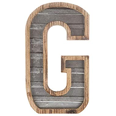 XXL 14  Galvanized Metal and Wood Industrial Home and Business Wall Letters Monogram Letter G