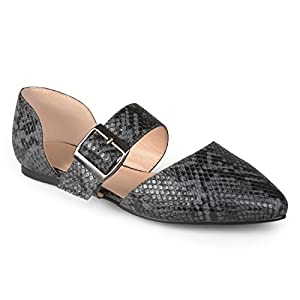 Journee Collection Womens Faux Leather Buckle Flats
