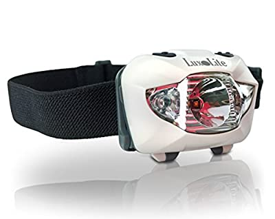 LuxoLite CREE LED Headlamp - Super Bright Lumens Head Flashlight w/ RED Light for Running, Hiking, Fishing, Camping, Reading - Waterproof Lamp, Best Fit Headband, Great Headlight Headlamps Xmas Gifts!