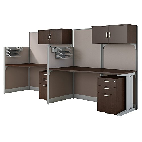 Office in an Hour 2 Person Cubicle Workstations in Mocha Cherry by Bush Business Furniture