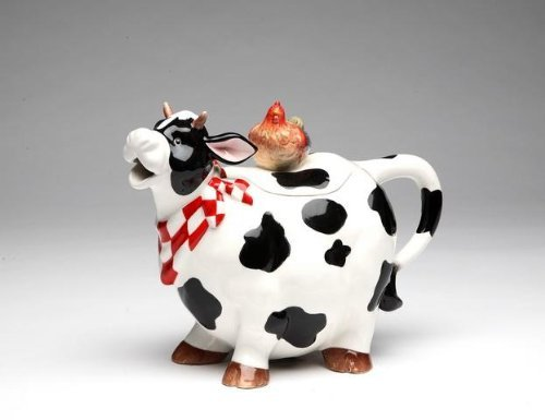 9 Inch Black and White Cow with Chicken Top Collectible Teapot by ATD