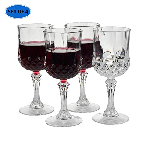 Home-X - Elegant Unbreakable Hard Plastic Crystal Goblets | Ideal For Wine & Champagne | Perfect Stem Glass For Parties, Weddings, Outdoor Events, BBQ and Picnics