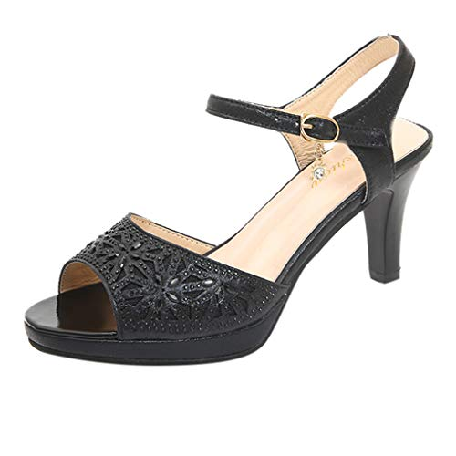 Sllve-hive Women's PU Sandals Hand-Painted Hollow Carved Peep Toe Thin Heel Back Buckle Strap Wild Mid-Heel Shoes Black