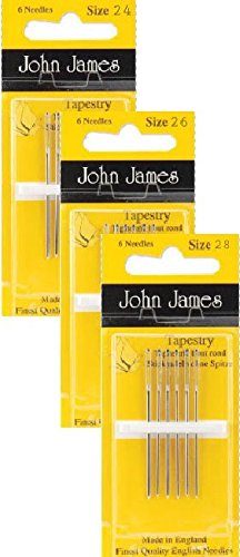 Tapestry Needles, Bundle: Sizes 24, 26 & 28 (6 Needles Each Pack)