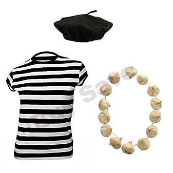 BERET HAT /& GARLIC GARLAND NECKLACE FRENCH MAN FANCY DRESS COSTUME SET