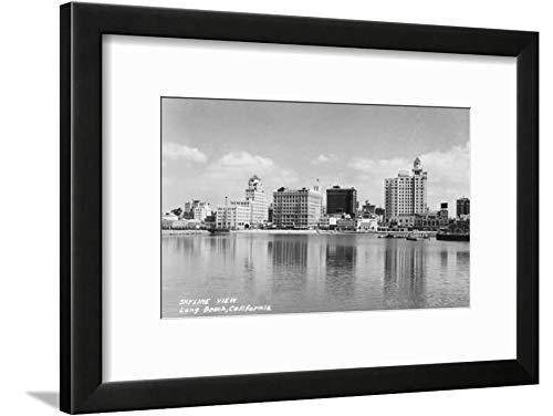 ArtEdge California City Skyline View Photograph-Long Beach, CA Black Framed Matted Wall Art Print, 12x16 in