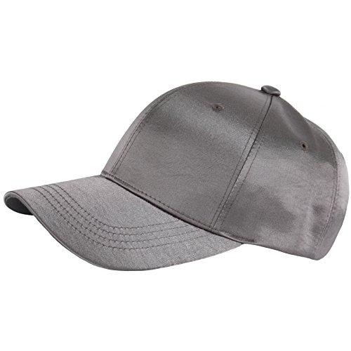 Cap Silk Baseball (RaOn B259 New Empty Satin Sexy Shiny Fabric Women Silk Ball Cap Baseball Hat Truckers (Gray))