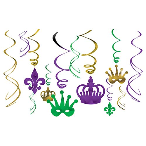 amscan Vibrant Mardi Gras Party Crown & Mask Swirl Ceiling Decorating Kit (2 X 12 Piece), Multi Color, 10 x 9.5 (2 Pack) - Inch Mask 18 Gras Mardi