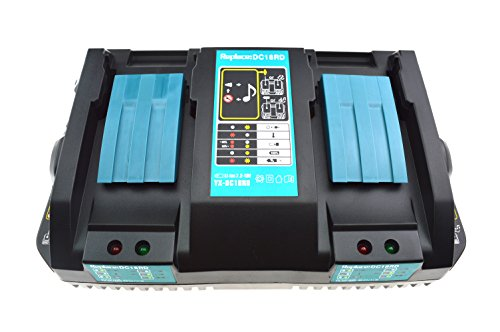 JANR Replacement 2-in-1 DC18RD DC18RC DC18SF Dual Double Port 14.4-18V Power Tools Rapid Battery Charger USB for Makita two BL1830 1850 BL1830 BL1840 BL1850B BL1820 BL1815 BL1840B (1.5A 3A 4A 5A) by JANRI