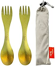 TiTo Titanium Spork 2-in-1 Multifunctional Spoon Fork Lightweight Portabale Flatware for Outdoor Camping Trave