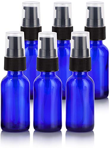 1 oz Cobalt Blue Glass Boston Round Treatment Pump Bottle (6 Pack) + Funnel for Essential Oils, Aromatherapy, Food Grade, bpa Free Cobalt Blue Glass Pump