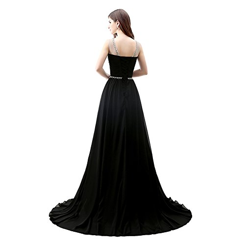 Träger A Kristall Gerüscht Chiffon engerla Kleid Pailletten Frauen Line Ball Schwarz Sheer Rückenfrei BqxHqpOwI