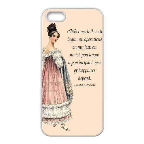 Austen Happy coque iPhone 5 5S Housse Blanc téléphone portable couverture de cas coque EBDOBCKCO13187