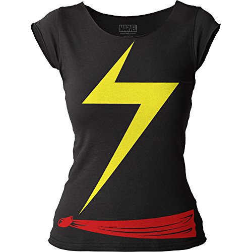 Womens Marvel Costume Ideas (Juniors: Ms. Marvel- Costume Tee Juniors (Slim) T-Shirt Size S)