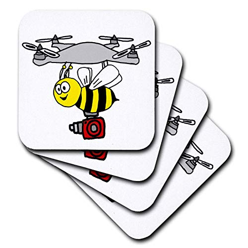- 3dRose All Smiles Art - Funny - Cool Funny Bee or Yellow Jacket Drone with Camera Cartoon - set of 8 Coasters - Soft (cst_311685_2)