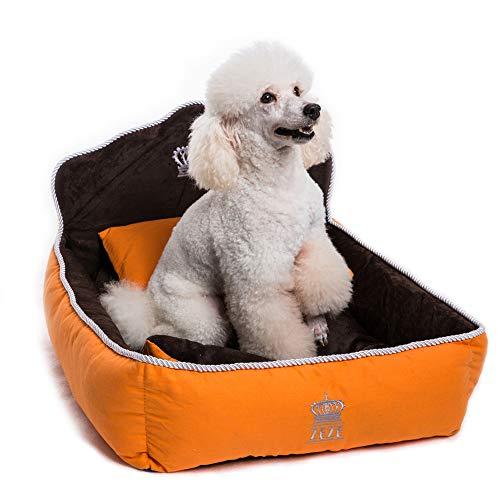 (Yicat (Set of 3) Pet Bed, Quilt and Pillow, Comfortable Soft Full Washable Pet Beds ZEZE Dog Kennel Cotton Nest Teddy Princess Bed Cat Litter (M: 6251cm, 001:Orange))