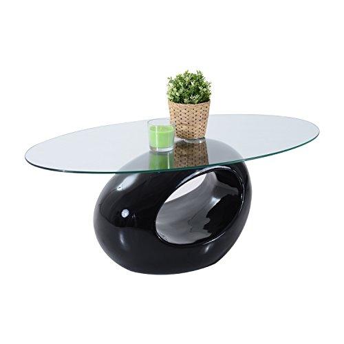 "[HomCom 43"" Oval High Gloss Glass Coffee Table (Black)] (Black Glass Nesting Tables)"