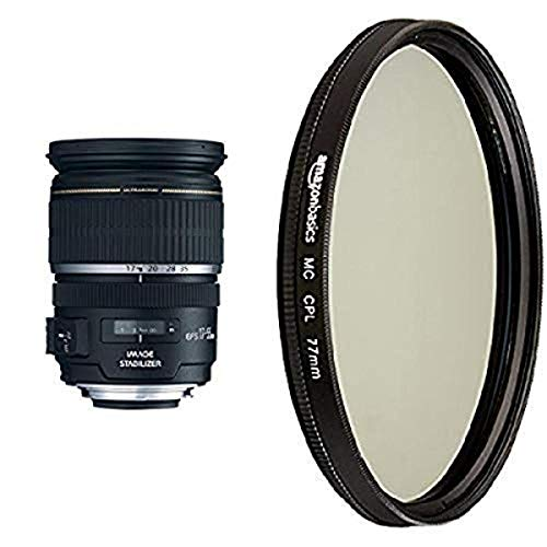 Objetivo Canon EF-S 17-55 mm f / 2,8 IS USM para cámaras Canon DSLR y objetivo polarizador circular Amazon Basics - 77 mm