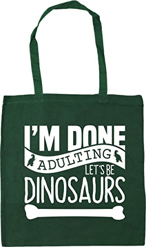 42cm Dinosaurs Tote Be litres Shopping Let's I'm Gym Bottle Green Bag Adulting Done x38cm Beach HippoWarehouse 10 nxwSCUqPf