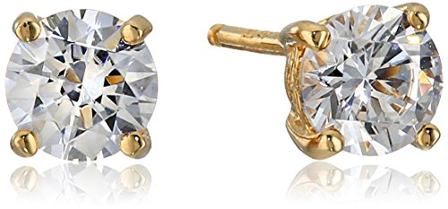 (Yellow Gold Plated Sterling Silver Stud Earrings set with Round Cut Swarovski Zirconia (1)
