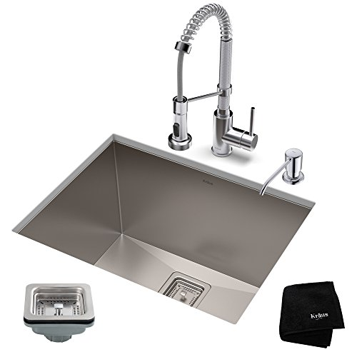KRAUS KHU24L-1610-53CH Set with Pax Stainless Steel Laundry Utility Bolden Commercial Pull Chrome Kitchen Sink & Faucet Combo