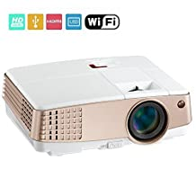 EUG Wireless Pico Projector 1080P LCD Display, Miracast Airplay WiFi Function, with HDMI Keystone Built-in Speaker Remote, for Home Cinema Theater