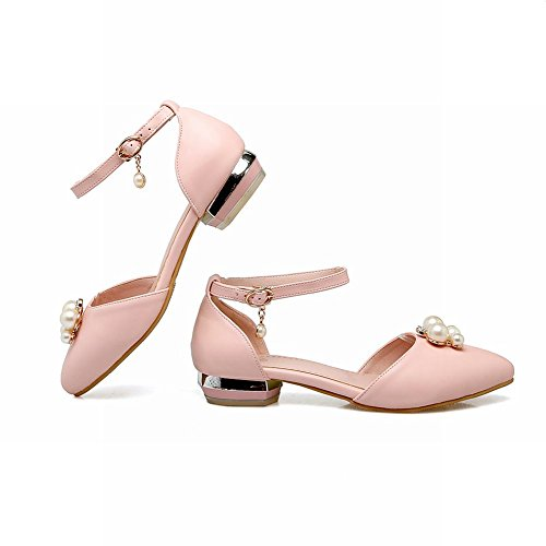 Mee Shoes Women's Dolly Ankle Strap Faux Pearl Court Shoes Pink 4mX1G