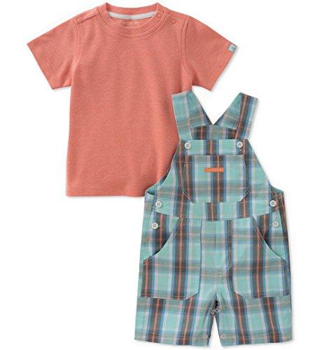 Shorts Shortalls - Calvin Klein Baby Boys 2 Pieces Shortall, Mint Green/Orange, 6-9 Months