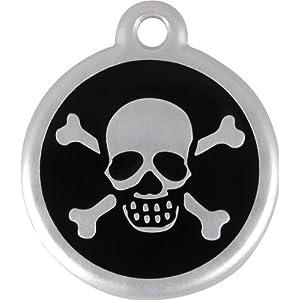 Red Dingo QR Collar Tag, Skull/Crossbones, Small, Black