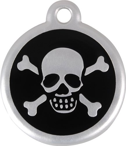 Red Dingo QR Collar Tag, Skull/Crossbones, Large, Black