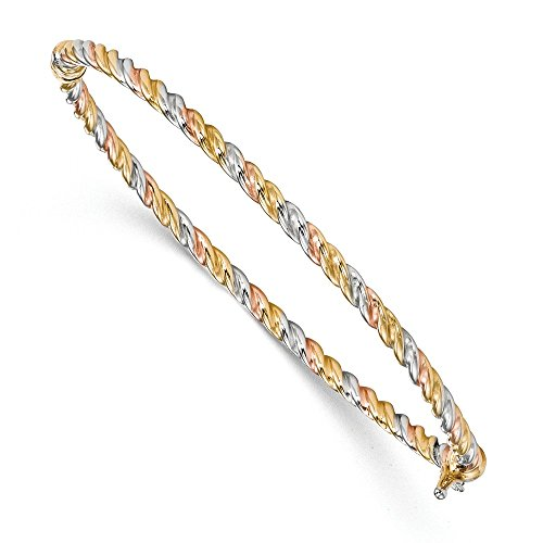 (Solid Tri-Color Twisted Bangle (3mm))