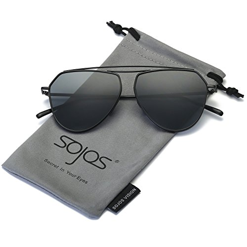 SojoS Aviator Flat Mirror Lenses Sunglasses Classic Metal Double Bridge Glasses SJ1040 With Black Frame/Grey Lens (Aviator Bridge)