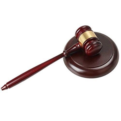 WINOMO Martelletto di legno artigianali maglio martello con blocco audio vendita giudice Auction (vino rosso)