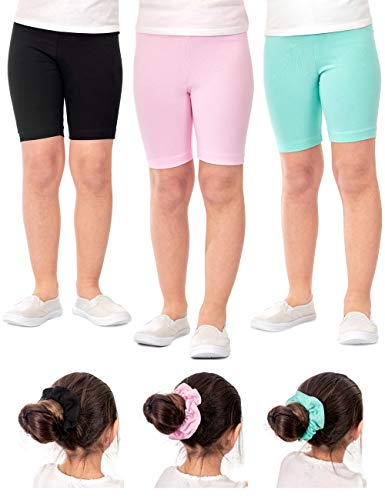 DEAR SPARKLE Girls Bike Shorts 3 Pack Cotton Solid Colors + Matching Hair Ties | Cheer Dance Gymnastic Ballet Shorts Sizes 3-10 (G3) (Black/Pink/Mint, 9-10)]()