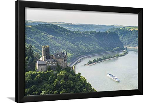 ArtEdge Castle Katz and The Lorelei Above The River, St. Goarshausen, Rhine Gorgegermany, Europe by Michael Runkel, Black Wall Art Framed Print, 16x24, Unmatted (Rhine Framed River)