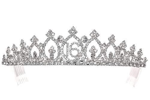 Birthday Party Rhinestone Crystal Tiara Crown - Sweet 16th Sixteenth T1159]()