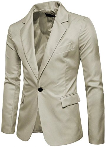 Khaki Sport Coat - Men's Long Sleeves Peak Lapel Collar One Button Slim fIT Sport Coat Blazer Khaki