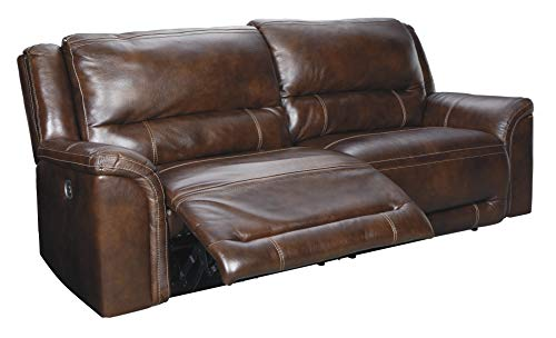 - Signature Design by Ashley U8300447 Catanzaro Power Reclining Sofa, Mahogany