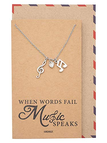 Quan Jewelry Music Note Necklace, Treble Clef Necklace, Best Music Jewelry Gift for Music Lovers, 16 to 18 inches