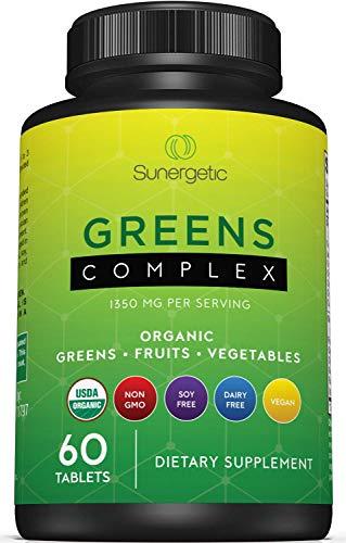 Premium USDA Organic Greens Superfood Tablets - Greens Superfood Powder Includes Veggies, Fruits & Polyphenols - Daily Greens Superfood Powder Supplement- 60 Greens Tablets