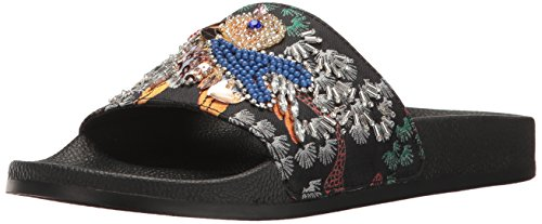 Steve Madden Women's Sparkly Slide Sandal, Black/Multi, 8 M US
