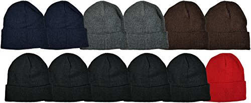 Sock Deal 12 Pack Winter Beanies, Kids, Warm Cold Weather Hats Skull Cap Boys Girls Children (Assorted Solids #2)
