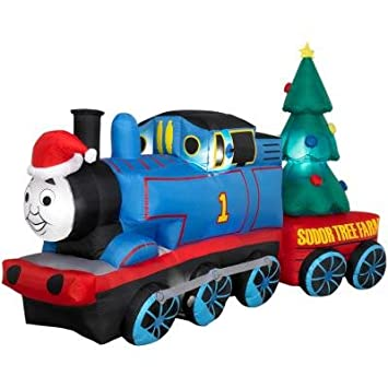 amazoncom gemmy thomas the tank engine 8 long airblown christmas holiday inflatable with sodor tree farm train car home kitchen